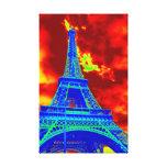 torre Eiffel en el fuego Impresión De Lienzo