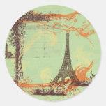 Torre Eiffel en etiquetas verdes de los pegatinas Pegatina Redonda