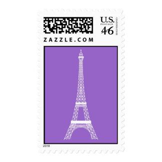 Torre Eiffel en franqueo elegante de la lavanda