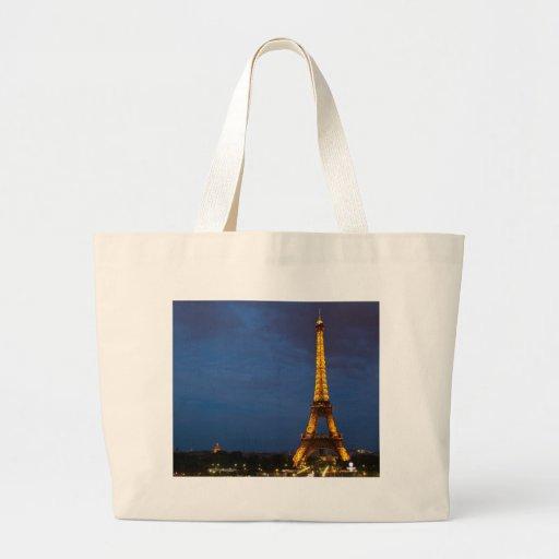 Torre Eiffel en la noche Bolsa Tela Grande