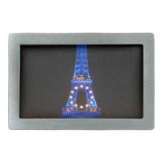Torre Eiffel en la noche Hebillas De Cinturón Rectangulares