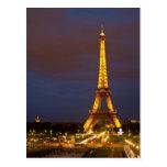 Torre Eiffel en la noche Tarjeta Postal