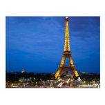 Torre Eiffel en la noche Tarjetas Postales