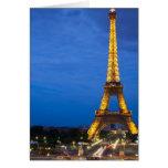 Torre Eiffel en la noche Tarjetón