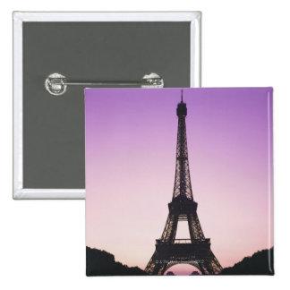 Torre Eiffel en la puesta del sol Pin Cuadrada 5 Cm