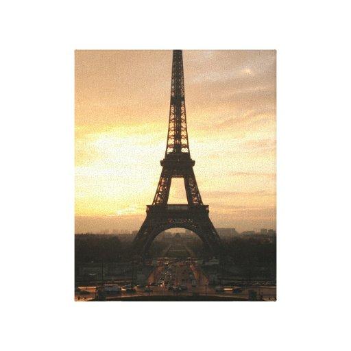 Torre Eiffel en la salida del sol del Trocadero Lona Envuelta Para Galerias