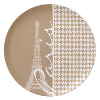 Torre Eiffel en marrón claro, moreno Houndstooth Plato