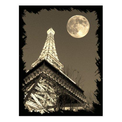 Torre Eiffel en París Las Vegas debajo de una Luna Postales