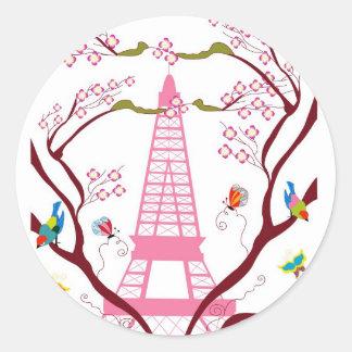 Torre Eiffel en pegatina de la primavera