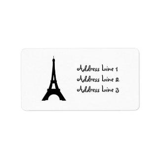 Torre Eiffel, etiqueta de dirección de la silueta