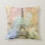 Torre Eiffel femenina de moda hermosa Francia del  Almohada