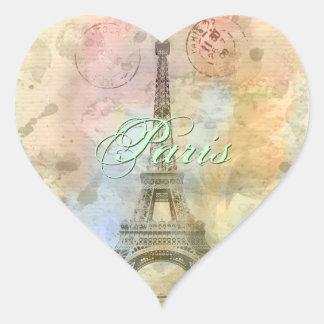 Torre Eiffel femenina de moda hermosa Francia del Pegatina En Forma De Corazón