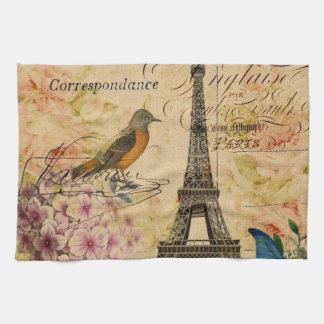 torre Eiffel femenina de París del pájaro del vint Toallas De Mano