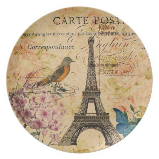 torre Eiffel femenina de París del pájaro del vint Platos De Comidas