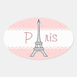 Torre Eiffel femenina elegante y de moda de París Pegatina Ovalada