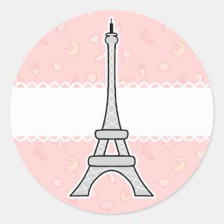 Torre Eiffel femenina elegante y de moda de París Pegatina Redonda