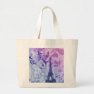 Torre Eiffel femenina floral púrpura elegante Bolsa Tela Grande