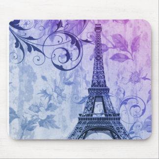 Torre Eiffel femenina floral púrpura elegante Tapete De Ratón