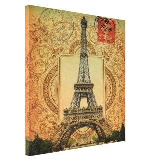 torre Eiffel femenina moderna de París del vintage Lienzo Envuelto Para Galerias