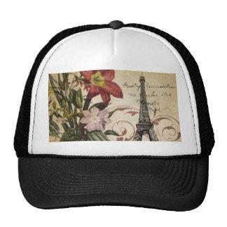 torre Eiffel floral de París del lirio del vintage Gorra