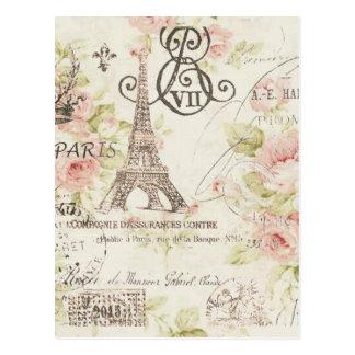 Torre Eiffel floral de París del vintage elegante Tarjetas Postales