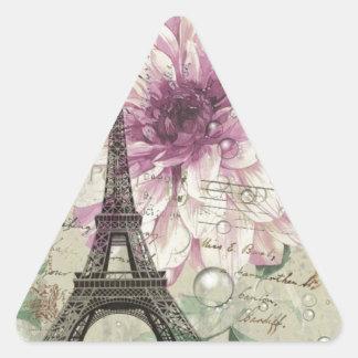 Torre Eiffel floral elegante de París del vintage Pegatina Triangular