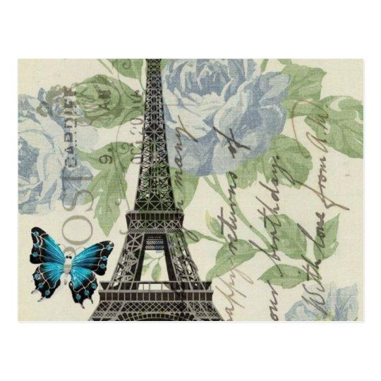 torre Eiffel floral elegante lamentable de París Tarjeta Postal