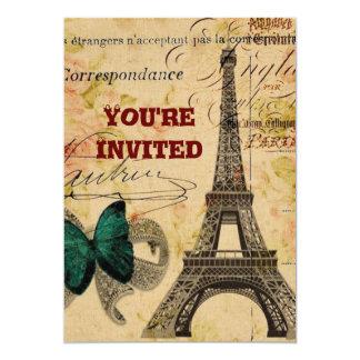 torre Eiffel floral femenina de París de la Invitación 12,7 X 17,8 Cm
