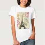 Torre Eiffel floral femenina de París del vintage Playera