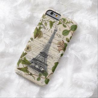 torre Eiffel floral femenina París del vintage de Funda Para iPhone 6 Barely There