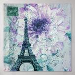 torre Eiffel floral púrpura de París del vintage Póster