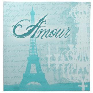 Torre Eiffel francesa azul del amorío Servilletas Imprimidas