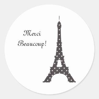 Torre Eiffel francesa blanco y negro de los Pegatina Redonda