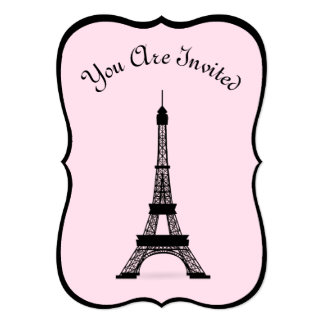 """Torre Eiffel francesa rosada y negra elegante del Invitación 5"""" X 7"""""""