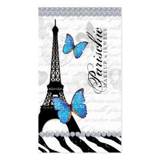 Torre Eiffel G azul de París de la tarjeta de visi Plantillas De Tarjetas Personales