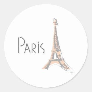 Torre Eiffel gris abstracta de PARÍS Pegatina Redonda