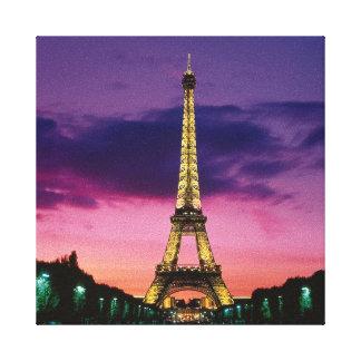 Torre Eiffel hermosa de París en la noche Impresión En Lona