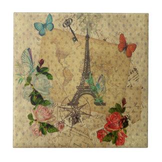 Torre Eiffel hermosa del collage de las postales d Azulejo Cuadrado Pequeño