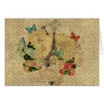 Torre Eiffel hermosa del collage de las postales d Tarjetas