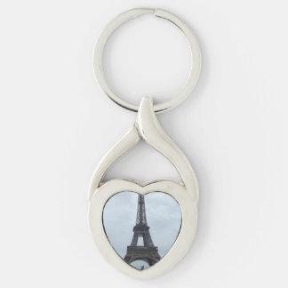 Torre Eiffel Llavero Plateado En Forma De Corazón