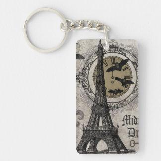 torre Eiffel moderna de Halloween del francés del Llavero Rectangular Acrílico A Doble Cara