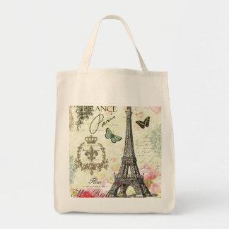 torre Eiffel moderna del francés del vintage Bolsa Tela Para La Compra
