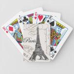 torre Eiffel moderna del francés del vintage Baraja De Cartas