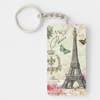 torre Eiffel moderna del francés del vintage Llavero Rectangular Acrílico A Doble Cara