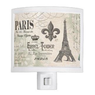 torre Eiffel moderna del francés del vintage Luz De Noche