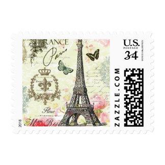 torre Eiffel moderna del francés del vintage Sello Postal