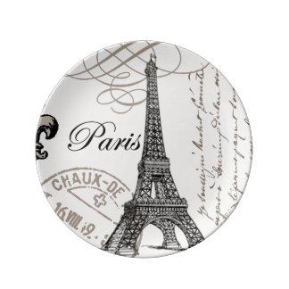torre Eiffel moderna del vintage Plato De Cerámica