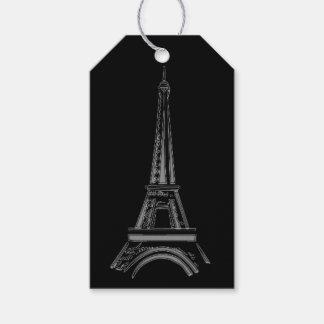 Torre Eiffel negra francesa, etiquetas del regalo Etiquetas Para Regalos