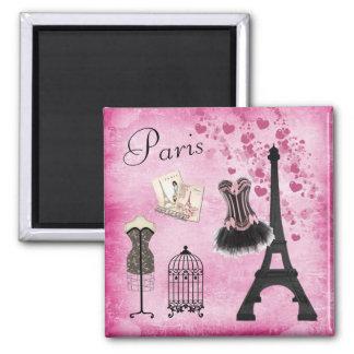Torre Eiffel negra rosada elegante de la moda de Imán Cuadrado