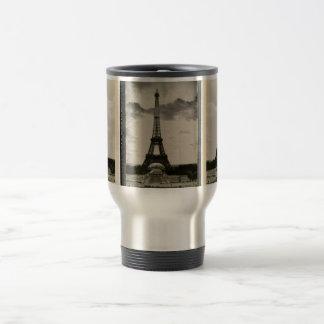 Torre Eiffel negra y blanca del vintage Tazas De Café